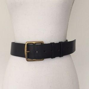 J. Crew Brown Leather Brass Buckle Belt S